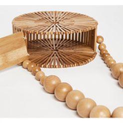 Geanta de umar din bambus Rose, curea din bile de lemn
