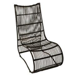 Fotoliu lounge negru din ratan si metal Lasia