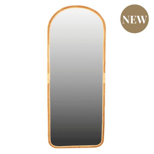 Oglinda ovala de podea cu rama din ratan Bisa