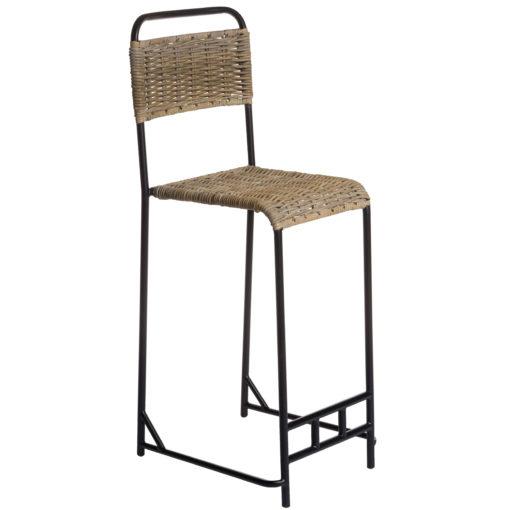 Alege scaun bar din ratan cu picioare metalice Semai.