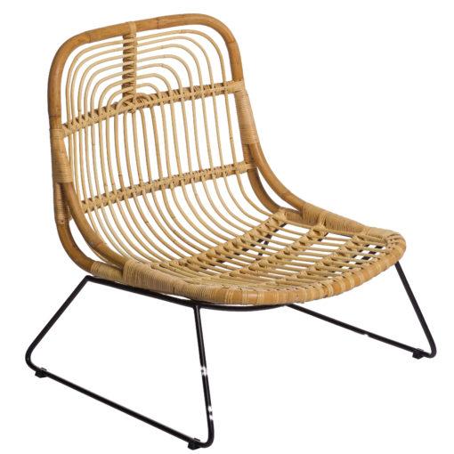 Scaun lounge din ratan cu picioare metalice