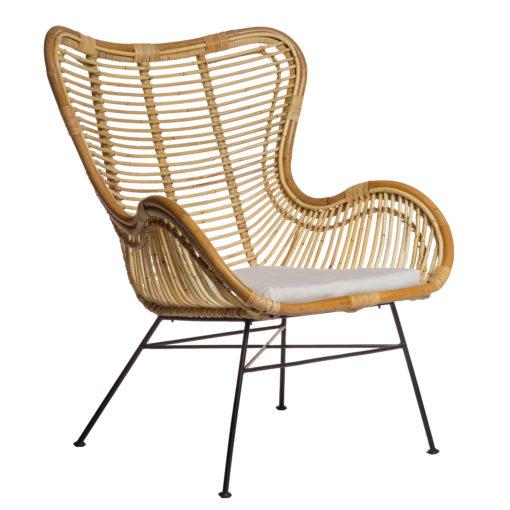 Scaun lounge egg din ratan cu picioare metalice