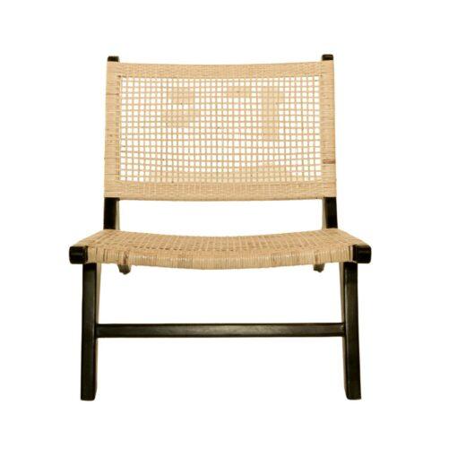 Scaun lounge din ratan si lemn