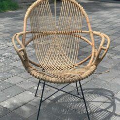 Scaun lounge din ratan cu picioare din metal Tarakan