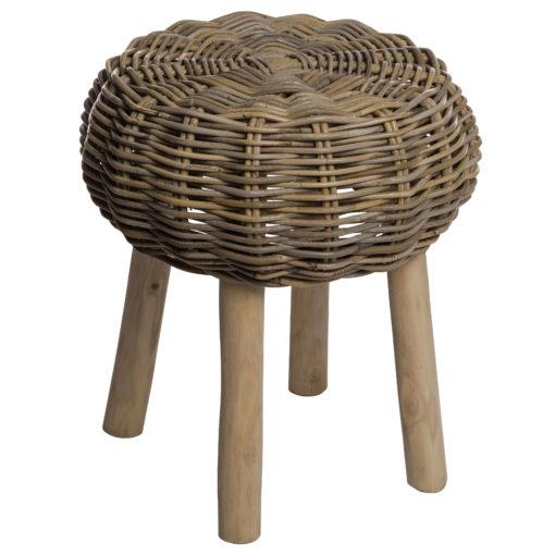 Alege taburet din ratan cu picoare din lemn Pantar.